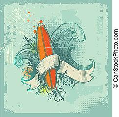 dessiné, vecteur, emblème, main, surfer
