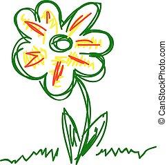 dessiné, vecteur, fleur, main