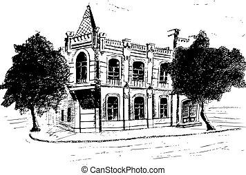 dessiné, vecteur, house., illustration, main