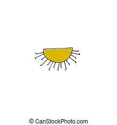 dessiné, vecteur, main, soleil
