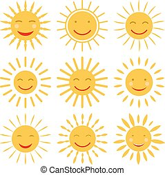 dessiné, vecteur, soleil, main, icônes, smile., mignon