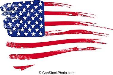 dessiné, vector., drapeau américain, dans, grunge, style.