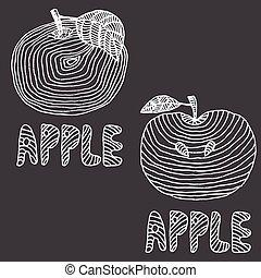 dessiné, .vector, pommes, illustration, main