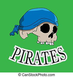 dessiné, vert, pirate, crâne, main