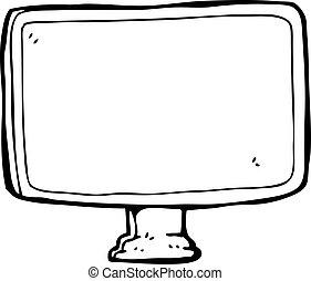 dessin animé, écran ordinateur