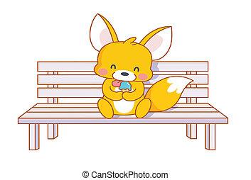 dessin animé, écureuil, mignon, séance