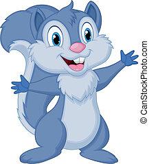 dessin animé, écureuil, poser, mignon