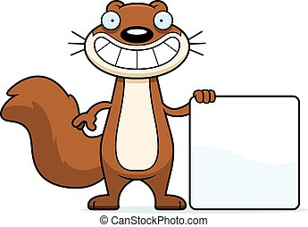 dessin animé, écureuil, signe