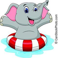 dessin animé, éléphant, à, anneau gonflable