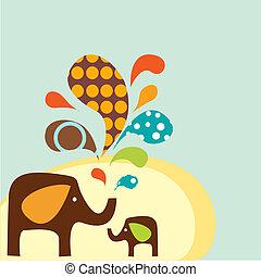 dessin animé, éléphants