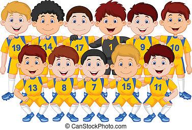 dessin animé, équipe football