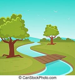 dessin animé, été, paysage