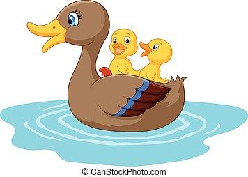 dessin animé, étang, canards