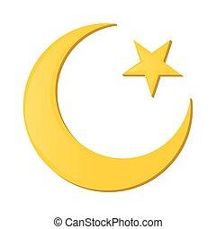 dessin animé, étoile, croissant, icône