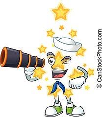 dessin animé, étoile, noël, marin, binoculaire, sourire heureux, conception