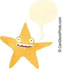dessin animé, étoile, retro, heureux