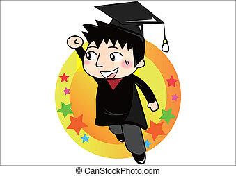 dessin animé, étudiant, diplômé