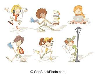 dessin animé, étudiants, adolescent, groupe