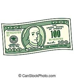 dessin animé, 100, note, dollar