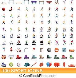 dessin animé, 100, style, icônes, ensemble, sport