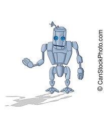 dessin animé, 2, mignon, robot