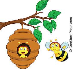 dessin animé, a, abeille miel, et, peigne