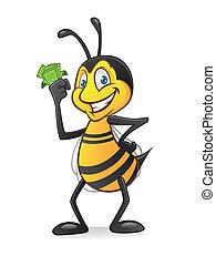 dessin animé, abeille, à, argent