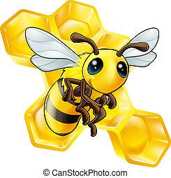 dessin animé, abeille, à, rayon miel