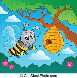 dessin animé, abeille, à, ruche