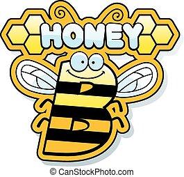 dessin animé, abeille miel, texte