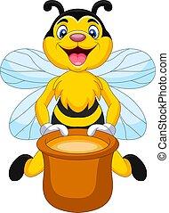 dessin animé, abeille, pot, miel