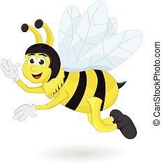 dessin animé, abeille, vague