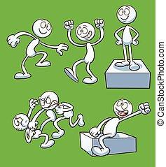 dessin animé, actions
