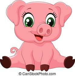 dessin animé, adorable, bébé, cochon