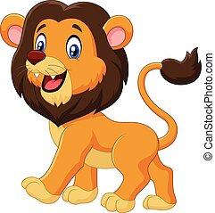 dessin animé, adorable, lion, marche