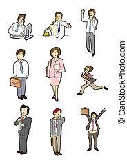 dessin animé, affaires gens