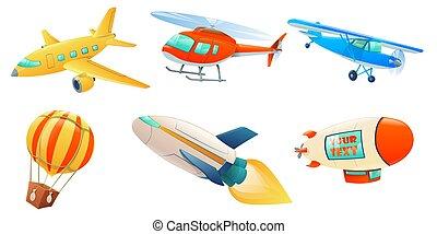 dessin animé, air, collection, transport