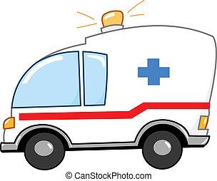 dessin animé, ambulance