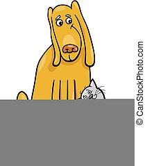 dessin animé, amitié, chien, illustration, chat