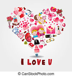 dessin animé, amour, carte