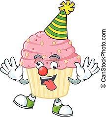 dessin animé, amuser, petit gâteau, mascotte, caractère, fraise, style, clown