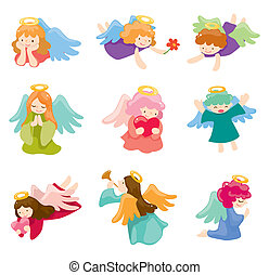 dessin animé, ange, icône, ensemble