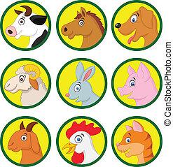 dessin animé, animal, collection, ferme
