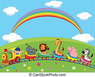 dessin animé, animal, train