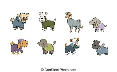 dessin animé, animals., mignon, chien, heureux, illustration, breeds., vecteur