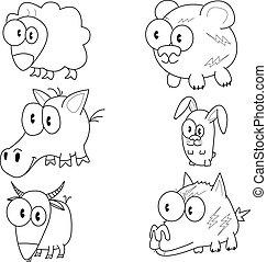dessin animé, animaux