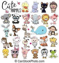 dessin animé, animaux, ensemble, mignon