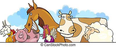 dessin animé, animaux ferme, conception