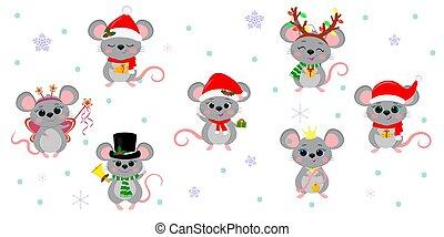 dessin animé, année, fond, plat, style, sept, nouveau, ensemble, accessoires, snowflakes., souris, rats, différent, vecteur, 2020., vacances, mignon, costumes, noël