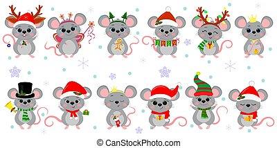 dessin animé, année, fond, style, plat, nouveau, ensemble, accessoires, snowflakes., souris, rats, différent, douze, vecteur, 2020., vacances, mignon, costumes, noël